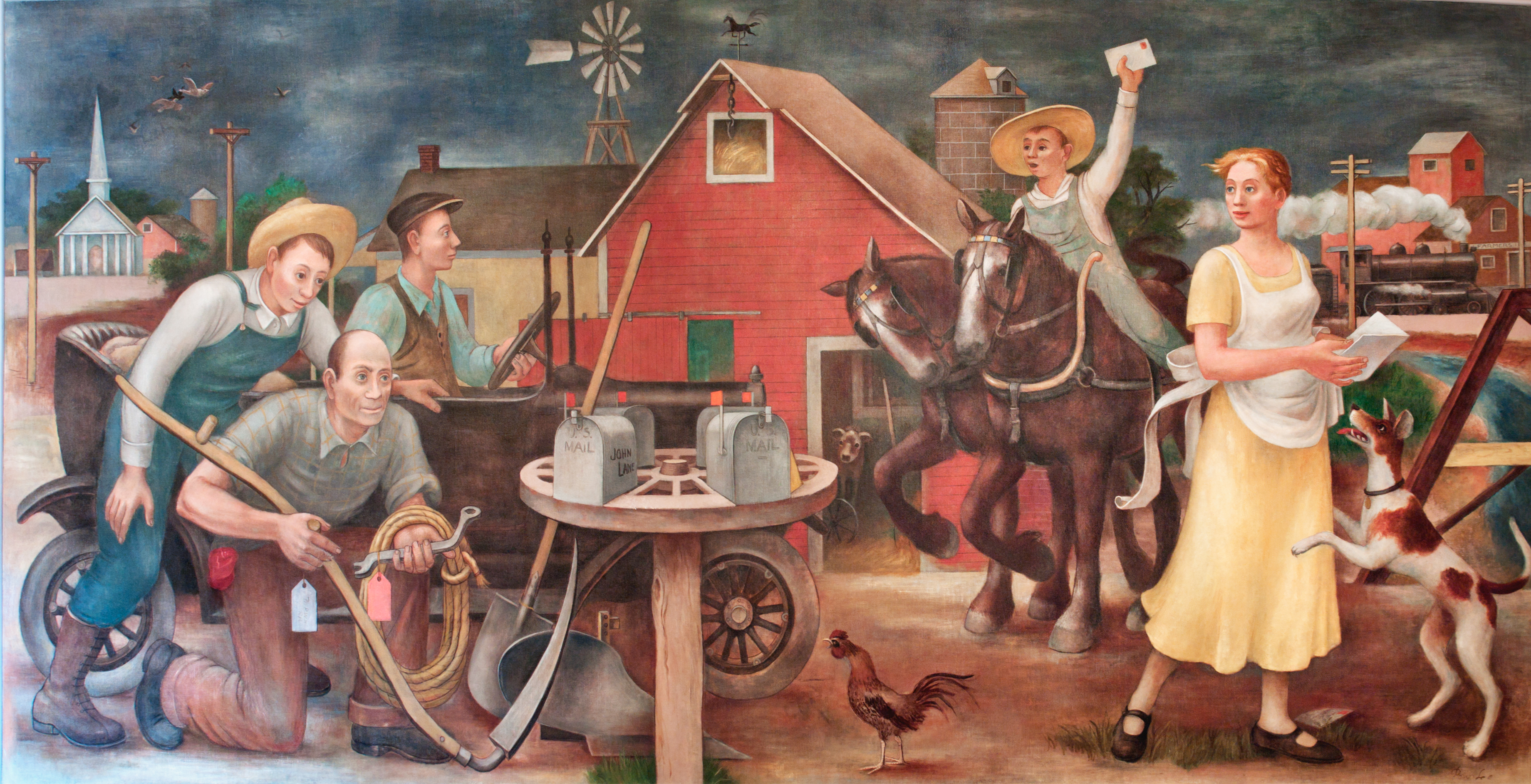 "Learning how to write place by analyzing WPA murals-- ""Country Post,"" (1938) by Doris Lee"