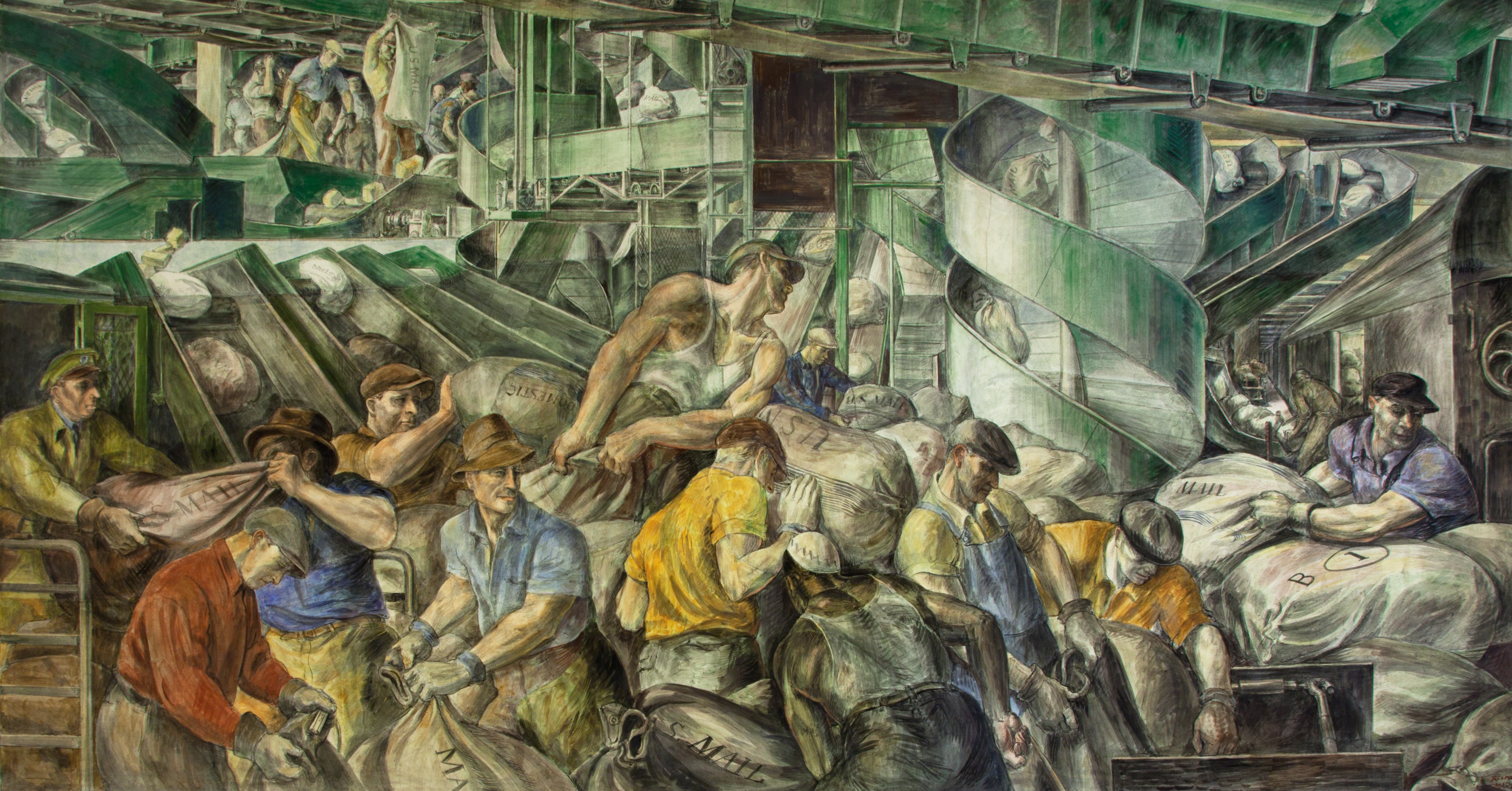 "Learning how to write place by analyzing WPA murals --""Sorting the Mail,"" (1936) by Reginald Marsh"