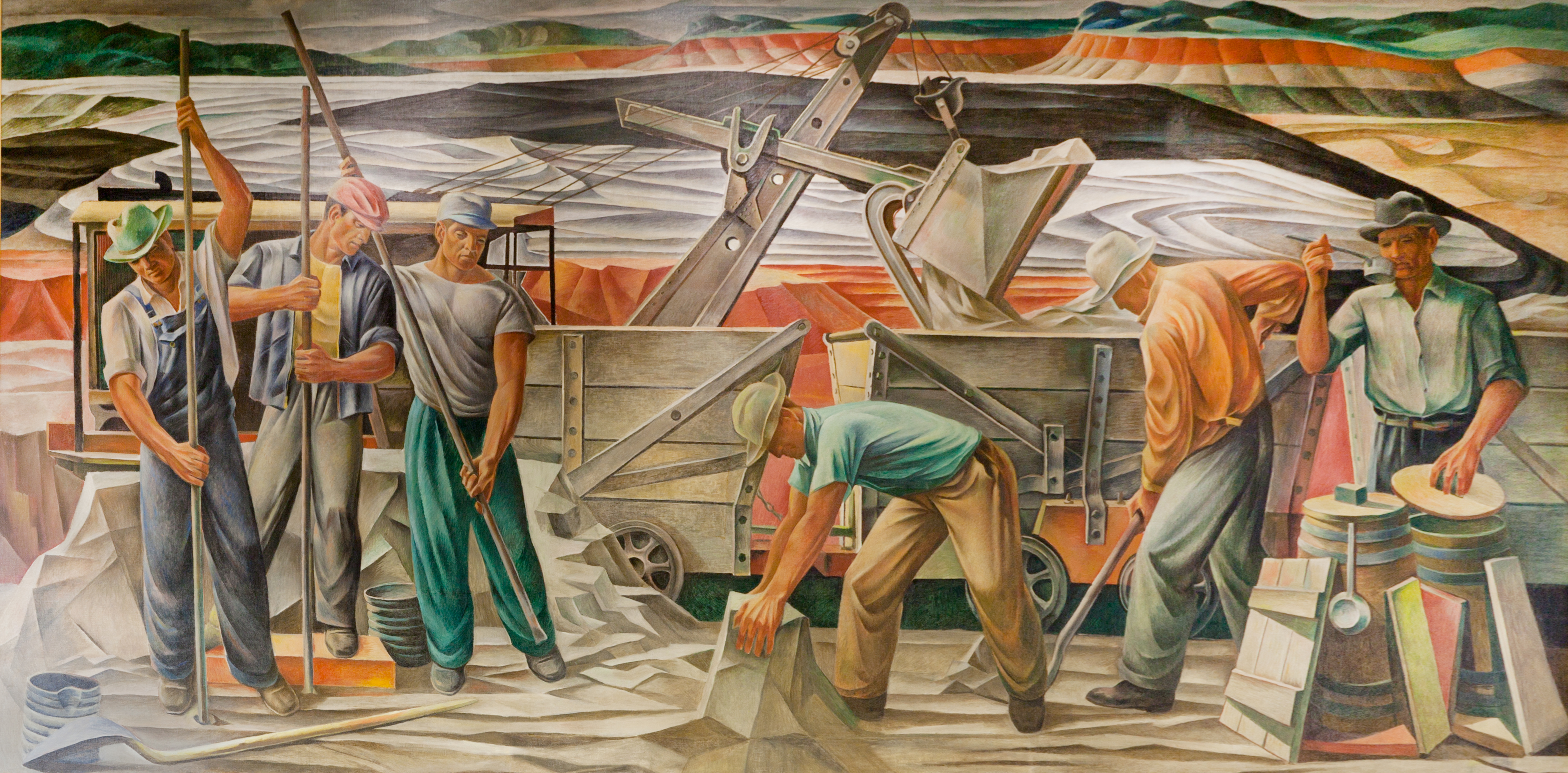 "Learning how to write place by analyzing WPA murals -- ""Bauxite Mines"" (1942), by Julius Woeltz"